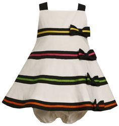 $33.60-$48.00 Baby Size-18M BNJ-8303R 2-Piece BLACK WHITE WOVEN A-LINE MULTI RIBBON BAND BOW TRIM Special Occasion Flower Girl Party Dress,R18303 Bonnie Jean BABY/INFANT - Beautiful BLACK & WHITE A-LINE WOVEN PIQUE DRESS features sleeveless, square-neckline bodice with CONTRASTING BLACK BANDS & BOWS TRIM plus MULTI-COLOR GROSGRAIN RIBBON ACCENTS and button back closure. Comes with matching/coord ...