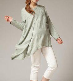 Linen asymmetric Long sleeve shirt