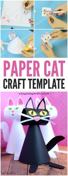 Cute Paper Cat Craft Template for Kids! Black kitties are a cute idea for a fall craft with preschool, kindergarten and first grade this Halloween! #artsandcraftsforkidswithpaper,