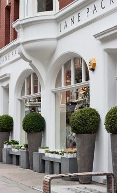 Boxwoods in at zinc? containers. at Jane Packer Shop in London