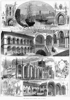 An 1873 engraving showing sights around Bristol, from The Illustrated London News