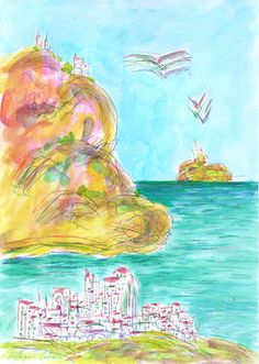 City, cliff, sea, birds and island