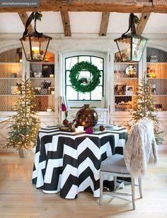 Jill Sharp Brinson's home, black and white chevron tablecloth, Christmas greenery, lanters, chicken wire built-ins, pops of purple flowers