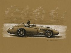 """Fangio - Maserati 250F - French GP 1957 I did this piece while sitting at the Wolfville Market with a friend. Black pen&ink and white acrylic pens on 12""""x 9"""" medium brown cotton stock © Paul Chenard 2017"""