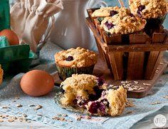 Muffins de arándanos con crumble de avena, ¿os apuntáis?