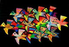 Luxurious Escher – The kunstopdemagnolia website! - New Site Escher Kunst, Escher Art, Class Art Projects, Collaborative Art Projects, Wal Art, 3rd Grade Art, Ecole Art, Fantasy Kunst, Elements Of Art