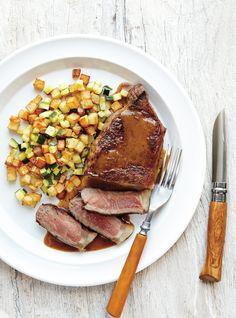 Recette de Ricardo de steak et pommes de terre rissolées  à la courgette