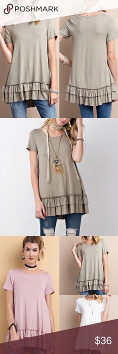 🆕ISABELLA loose fit ruffle tunic top -FADED OLIVE Super comfy, loose fit, round neck short sleeve ruffle tunic top. 95% rayon, 5% spandex   AVAILABLE IN DUSTY MUAVE, BLACK, OFF WHITE, FADED OLIVE & DARK GREY    🚨🚨NO TRADE, PRICE FIRM🚨🚨 Bellanblue Tops Blouses