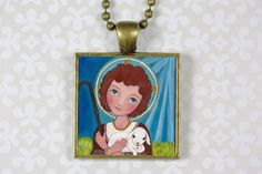 Jewelry Handmade Art Pendant Necklace Jesus a by Evonagallery