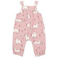 Buy John Lewis Baby Unicorn Cord Dungarees, Pink Online at johnlewis.com