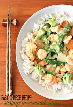 Shrimp in Coconut Milk Sauce: Easy Chinese Recipe Looking for an easy meatless meal? Try this easy C Chinese Shrimp Recipes, Easy Chinese Recipes, Asian Recipes, Ethnic Recipes, Shrimp Coconut Milk, Coconut Milk Recipes, Coconut Sauce, Entree Recipes, Dinner Recipes