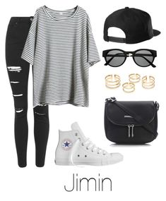 A fashion look from December 2015 featuring Topshop jeans, Converse sneakers and Wallis shoulder bags. Browse and shop related looks. Korean Fashion Kpop, Kpop Fashion Outfits, Mode Outfits, Korean Outfits, Emo Fashion, Street Fashion, Fashion Tips, Teenage Girl Outfits, Outfits For Teens