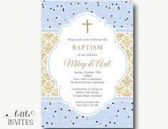 Doble BAUTIZO Bautismo invitación/invitación/gemelos/bautismo/para imprimir/azul oro de Damasco de bautismo, confirmación, primera comunión-Mikey & Axel
