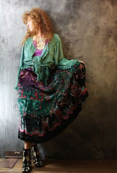 Vintage Dress Skirt Bohemian Gypsy Hippie Crushed Velvet India Skirt with Sequins Jewel Tones Cotton Rayon