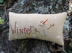 Primitive Winter Snowman Mini Pillow Tuck by WickedlyCreative