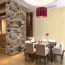 Best Promotion Modern Vintage 3D Effect Natural Embossed Stack Stone Brick Tile Vinyl Wallpaper Living Room TV Background(China (Mainland))