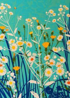 block print negative with color overlay Illustration Blume, Botanical Illustration, Botanical Art, Deco Floral, Floral Prints, Art Prints, Doodle Drawing, Floral Illustrations, Surface Pattern Design