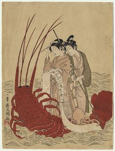 Couple on a Lobster Boat by Buncho (active 1765 - 1792)