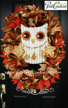 Fall Decor Wreath Owl Wreath Fall Mesh Wreath by PoshcreationsKY, $109.00