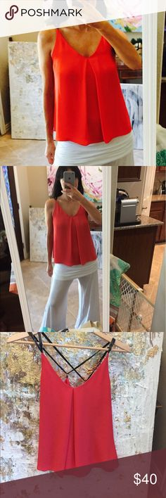 NWOT Red with leather Straps top NWOT perfect condition Sam Edelman top, xs Sam Edelman Tops Camisoles