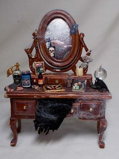 Dolls House Miniature Vampyra / Witch Filled Dressing Table by uniqueminiatures on Etsy https://www.etsy.com/listing/175857732/dolls-house-miniature-vampyra-witch
