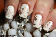 Essie nail stamping was - Penny Talk and white based China Glaze - Dandy lyin 'around