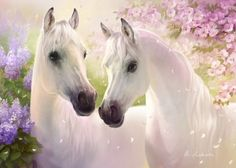 Horses - White, Art, Painting, Couple, Sprung, Horse, Beautiful, Flower, Pink, Fantasy