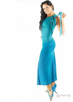 Natural Spin Signature Dance Tops(Short Sleeve):  LT25_TURQUOISE1