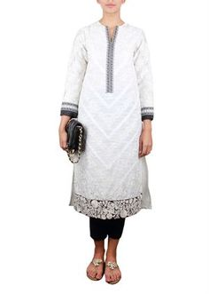 Picture of WHITE CHICKEN KARI EMBROIDERED SHIRT