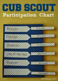 Scout Chart A Little Tipsy: Cub Scout Participation Chart Cub Scout Law, Cub Scouts Wolf, Tiger Scouts, Scout Mom, Girl Scouts, Daisy Scouts, Cub Scout Skits, Scout Games, Cub Scout Activities