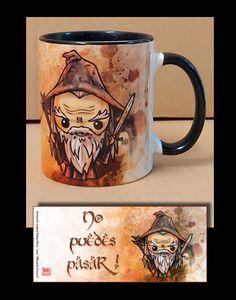 Taza inspirada en el Señor de los Anillos, Gandalf el Gris #tazas_personalizadas #susu #gandalf #lotr #tazas_divertidas #mug #tazas_geek #nikochancomics #tazas_friki