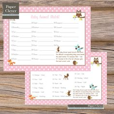 Baby Shower Game Animal Match Woodland Girls  by paperclever, $6.00
