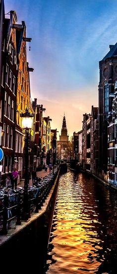 Canal in Amsterdam, Sunset, Netherlands by Thomas Kuipers