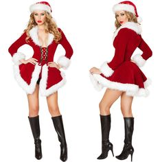 ba690870d737 New Christmas Costumes For Women Red long sleeve Fur Velvet Santa Claus  Xmas Outfit Sexy Christmas Fancy Dress with hat