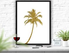 Palm Tree Print Palm Tree Art Graphic Palm Tree by ATArtDigital Palm Tree Art, Palm Trees, Gold Decorations, Tropical Art, Tree Print, Frame It, Minimalist Art, Poster Wall, Printable Art