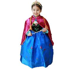 Princess Anna Lace Paisley Chiffon Cosplay Costume Play Long Dress for Girls Kids 3T >>> Learn more by visiting the image link.