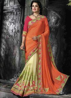 Orange Cream Embroidery Work Chiffon Net Designer Wedding Fancy Half Sarees http://www.angelnx.com/Sarees/Wedding-Sarees