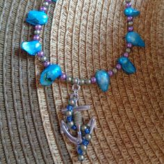 Summer beaded anchor necklace by TinkerGirlBoutique on Etsy