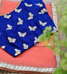 Blue Butterflies ! Peach Kundan worked Net Saree with Sequins Border teamed up with Navy blue butterflies embroidered blouse . 21 January 2017
