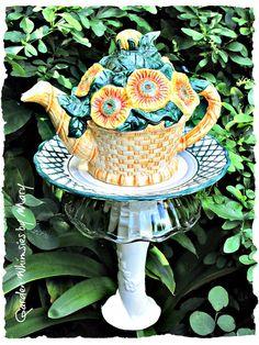 Sunflowers Teapot Garden Totem Stake  As by GardenWhimsiesByMary, $35.00