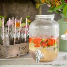 kitchen ideas – New Ideas Circus Theme Party, Party Themes, Party Ideas, Mason Jar Dispenser, Mason Jar Drinks, Family Bbq, Textiles, Infused Water, Yorkshire