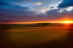Sunrise shot of the putting green as the day breaks over Craigielaw golf course in Scotland.