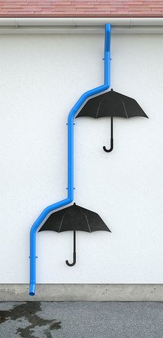 I love this cute quirky idea for plumbing and umbrellas.