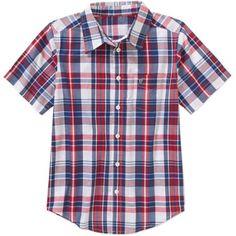 Wrangler Boys' Short Sleeve Woven Plaid Shirt - Walmart.com