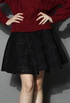 Black Full Lace Skater Skirt
