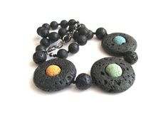 Necklace with volcanic lava, for her, gemstones, black blue green yellow, original, unique, perfect gift, OOAK - pinned by pin4etsy.com
