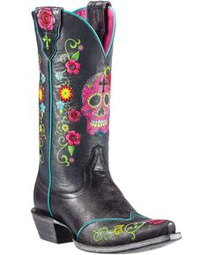 Ariat Gypsy Fiesta Skull & Floral Cowgirl Boots - Snip Toe