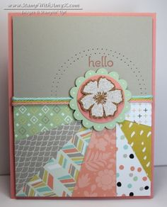 """handmade card from Stamp With Amy K ... sunburst technique  ... pretty coordinating patterned papers (could be scraps too) ... flower medallion in the """"sun spot"""" ... trendy gray with cantaloupe and mint green ... pretty card ... Stampin' Up!"""