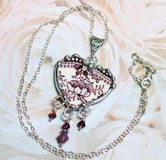 Broken China Jewelry, Heart Pendant Necklace with Violet Crystal Dangles, Purple Transferware, Sterling Silver Chain