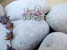 Small House Earrings tiny white ceramic house earrings by GUDAR